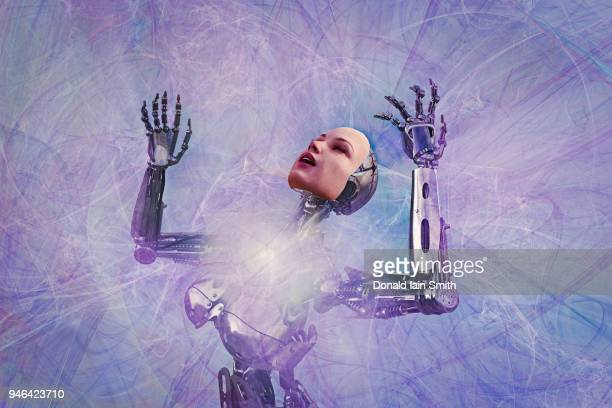 Robot with human face and arms raised in ecstasy surrounded by energy fields