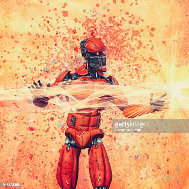 Robot with orange energy fields and exploding fragments