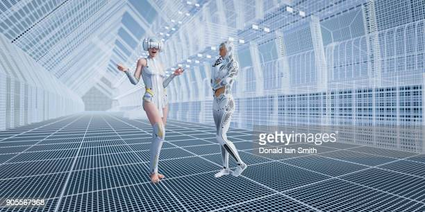 Robot with woman wearing virtual reality goggles in futuristic corridor