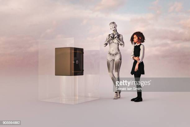 Robot woman and girl watching safe in cube