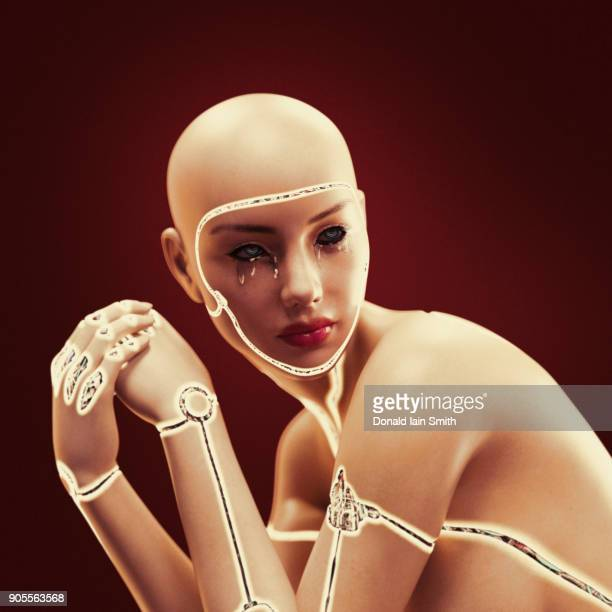 Robot woman crying