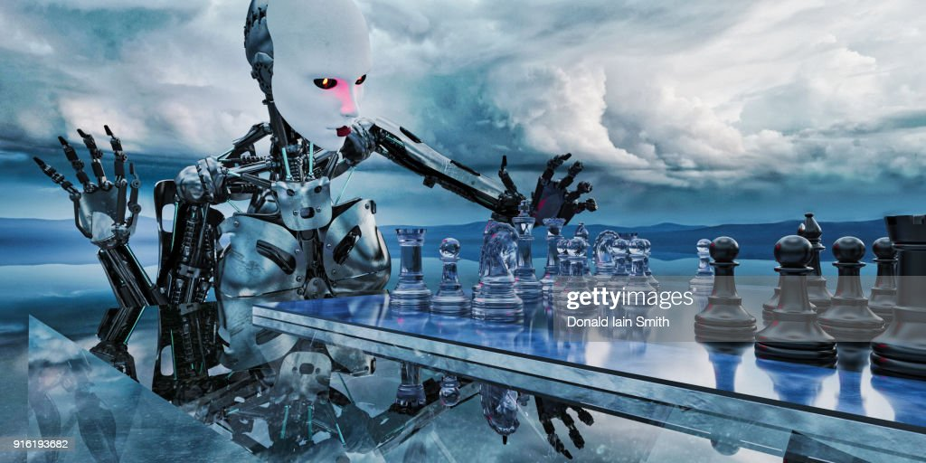 Robot woman playing chess in clouds : Stock-Foto