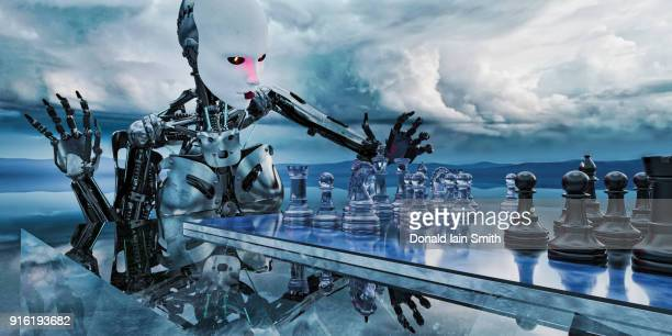 Robot woman playing chess in clouds
