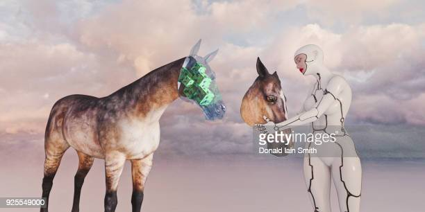 Robot woman removing face of horse revealing circuits
