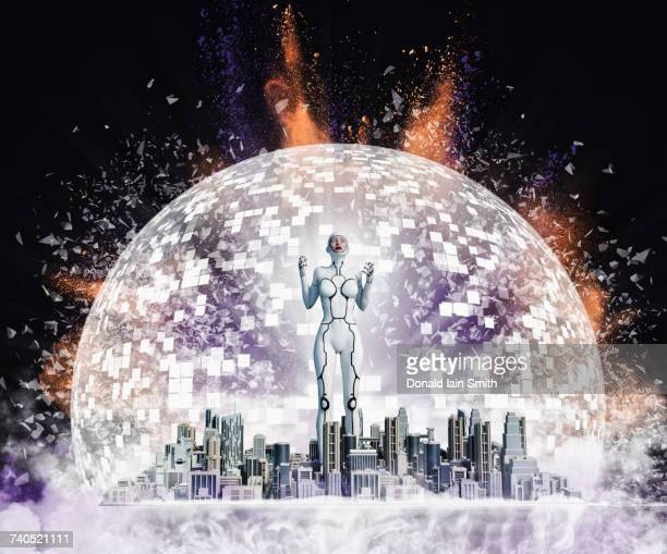 Robot woman standing in exploding city in sphere