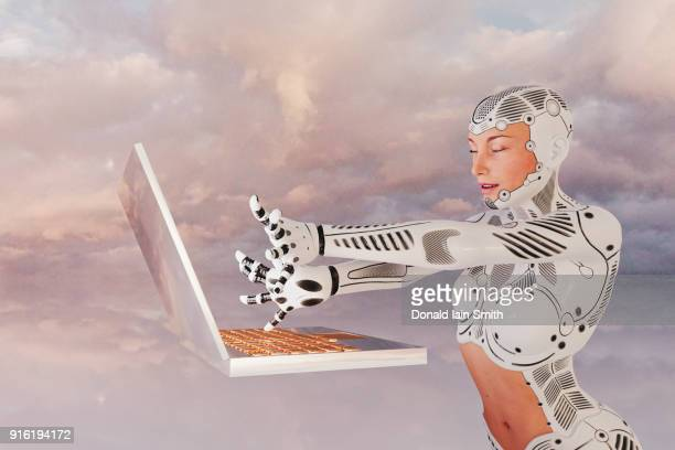 robot woman using floating laptop - telepathy stock pictures, royalty-free photos & images