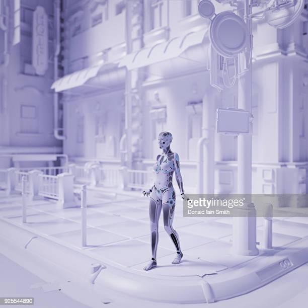 Robot woman walking in futuristic white city