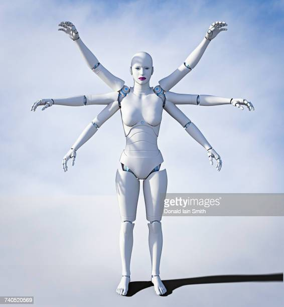 Robot woman with six arms