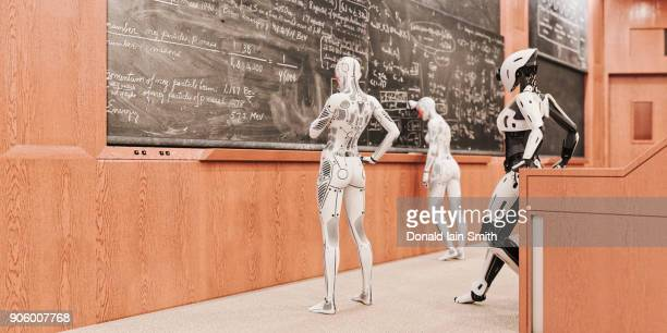 Robot women solving equations on blackboard