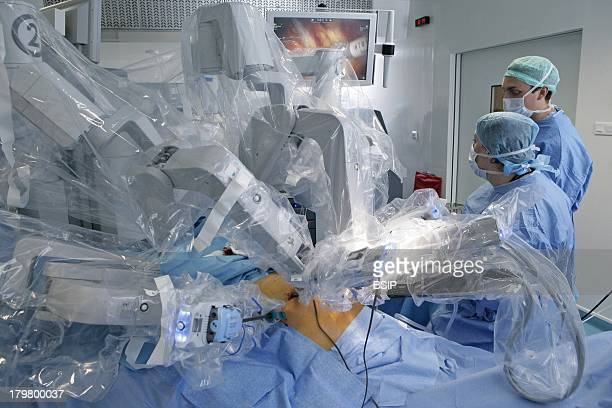 RobotAssisted Surgery Rouen hospital France Da Vinci Robotic total hysterectomy doctor performs minimally invasive hysterectomy with enhanced vision...