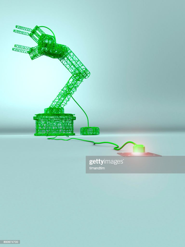 Robotic Arm Made Of Green Wires In A Green Environment Stock Photo ...