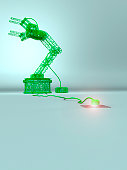 robotic arm made green wires with