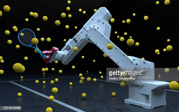 robotic arm playing tennis - ai stock pictures, royalty-free photos & images