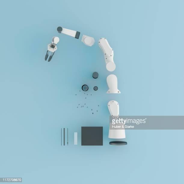 robotic arm shown in component parts - part of a series photos et images de collection