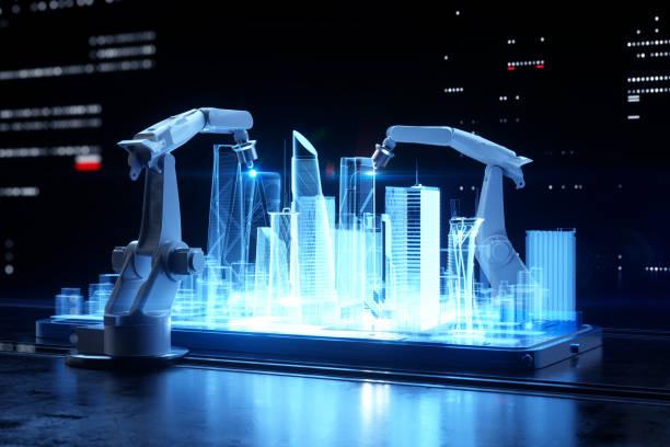 Robotic arms building city.