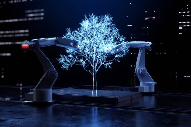 Robotic arms making tree.