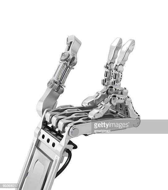 cyborg hand hält etwas