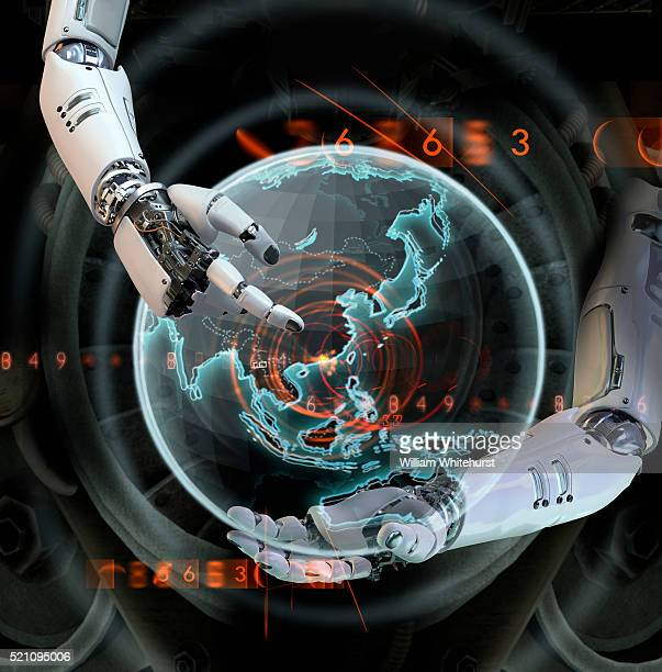 Robotic Hands Pointing at Asia