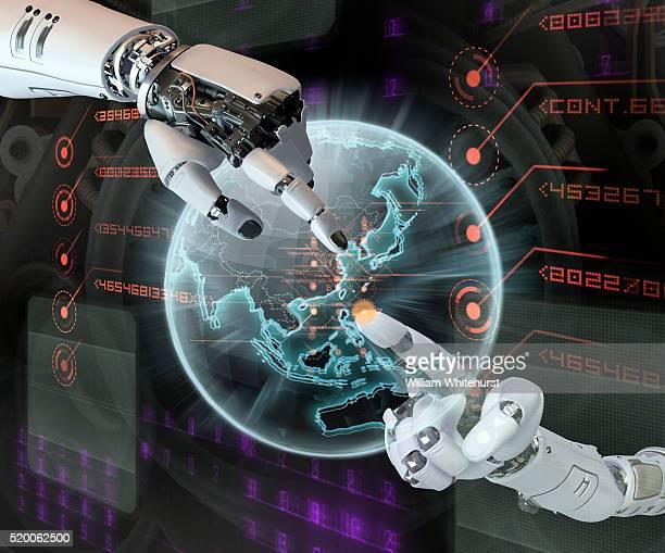 Robotic Hands Pointing at Virtual Globe