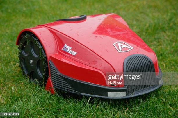A robotic lawn mower is seen on the Mill Island during a demonstration on 6 May 2017