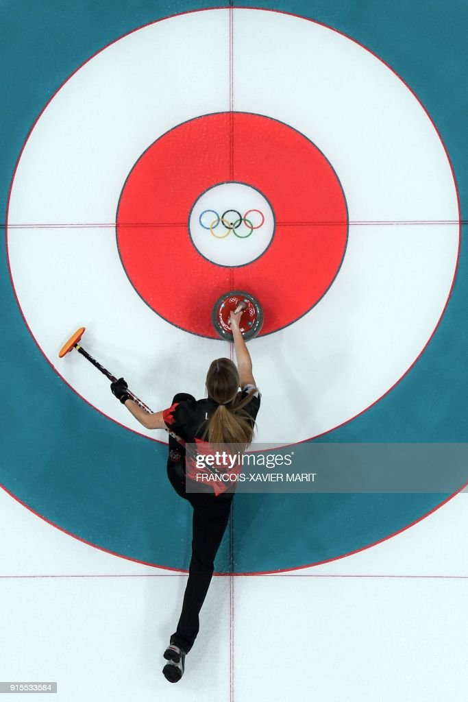 TOPSHOT - A robotic overview shows Canada's Kaitlyn Lawes in action during the curling mixed doubles round robin session between Canada and Norway during the Pyeongchang 2018 Winter Olympic Games at the Gangneung Curling Centre in Gangneung on February 8, 2018. / AFP PHOTO / François-Xavier MARIT