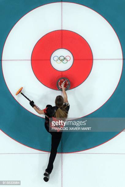 TOPSHOT A robotic overview shows Canada's Kaitlyn Lawes in action during the curling mixed doubles round robin session between Canada and Norway...