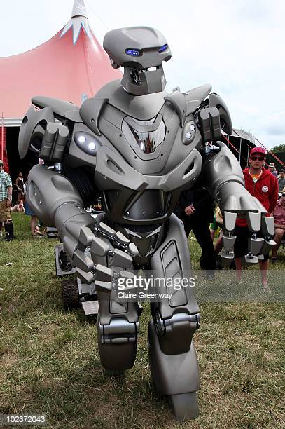 A robotic performer is seen at Glastonbury Festival at Worthy Farm Pilton on June 24 2010 in Glastonbury England This year sees the 40th anniversary...