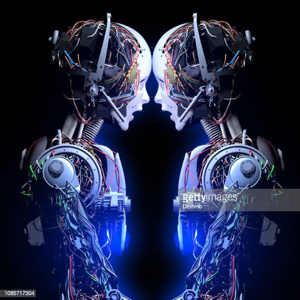 robotic solidarity - android stock pictures, royalty-free photos & images