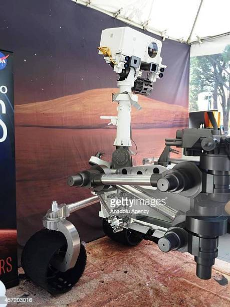 Robotic spacecraft is seen during the open house of NASA's Jet Propulsion Laboratory the event themed Welcome to Our Universe take visitors on a ride...