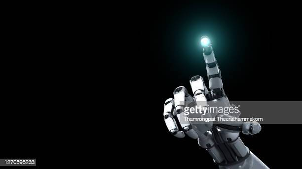 3d robotics arm touching hud hologram interface user to access cyber industrial system as artificial intelligence commander. technology and science concept. digital transformation futuristics and disruptive innovation internet of things - weaponry stock pictures, royalty-free photos & images