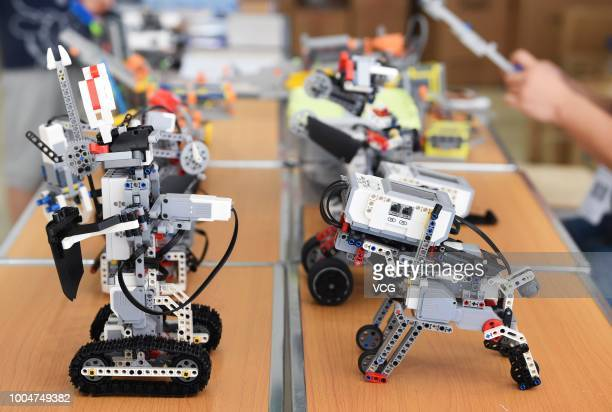 Robots are on display during the 18th China Adolescent Robotics Competition & World Adolescent Robot Contest 2018 on July 21, 2018 in Guiyang,...