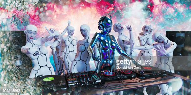 Robots dancing to music by robot woman disc jockey