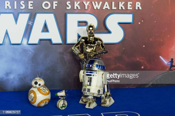 Robots DO BB8 R2D2 and C3PO attend the European film premiere of 'Star Wars The Rise of Skywalker' at Cineworld Leicester Square on 18 December 2019...