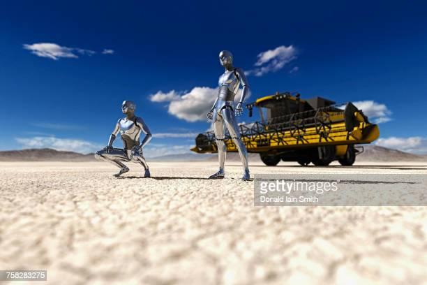 Robots examining drought on farmland