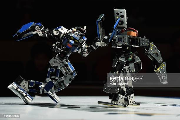 Robots fight during the 32nd ROBOONE tournament on February 25 2018 in Tokyo Japan According to the organizer the ROBOONE held by the Biped Robotics...