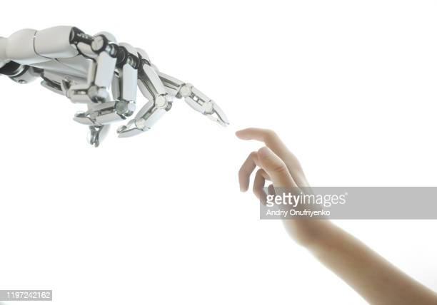 robot's hand touching digital panel with numbers - bewaken stockfoto's en -beelden