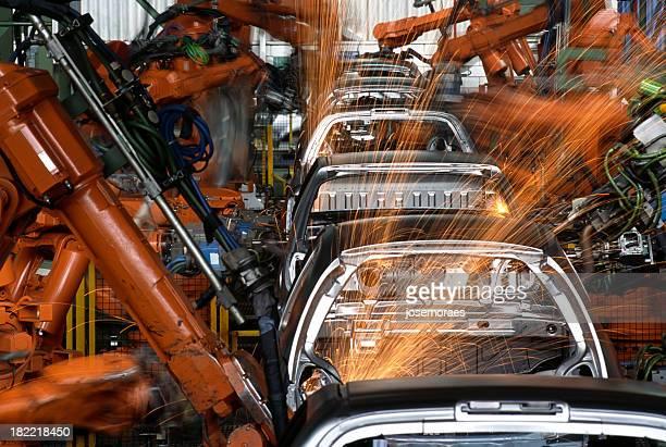 Roboter In einer Autofabrik