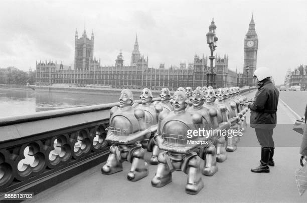 Robots lined up over Westminster Bridge The robots were supplied by EMI Records who used them on the cover of the latest album by 'Queen' After the...