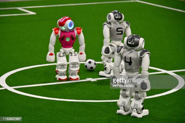 Robots play football at the RoboCup 2019 event in Sydney on July 4 2019 About 170 teams from more than 30 countries gathered in Sydney for the annual...