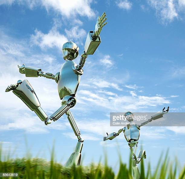 robots running to each other