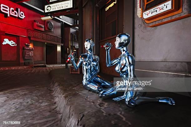 Robots sitting on sidewalk and vaping