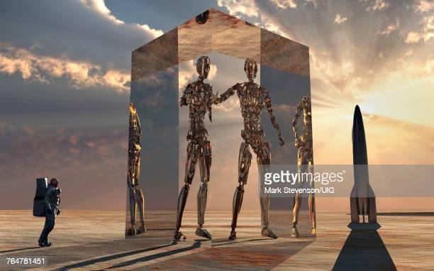 Robots Using Cubic Interdimensional & Space Portal Machine.