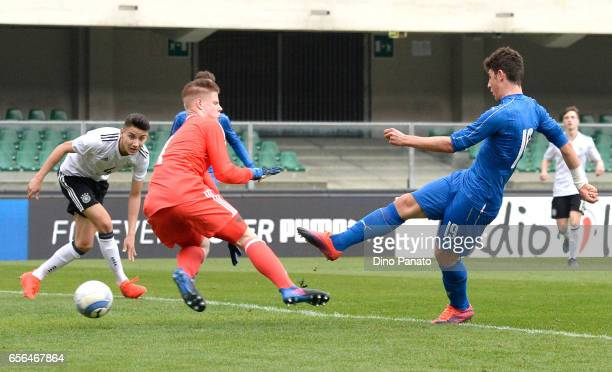 Robrerto Piccoli bof Italy U16 scores his teams first goal during the U16 international friendly match between Italy and Germany on March 22 2017 in...