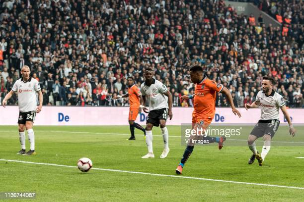 Robson de Souza of Istanbul Medipol Basaksehir scores during the Turkish Spor Toto Super Lig football match between Besiktas JK and Medipol...