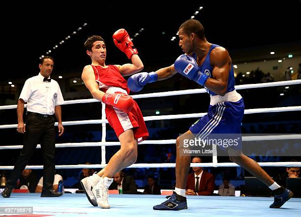 Robson Donatao Conceicao of Brazil fights Elnur Abduaimov of Uzbekistanin the final of the Men's Light Weight during the AIBA World Boxing...