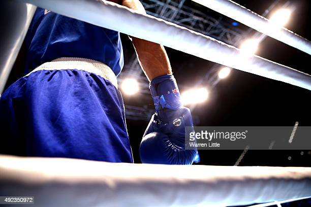 Robson Donato Conceicao of Brazil waits his corner ah he fights Albert Selimov of Azerbaijan in the semi final of the Men's Light Weight during the...