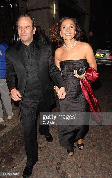 Robson Green and Vanya Seager during 2005 British Comedy Awards Departures at Londo Television Studios in London Great Britain
