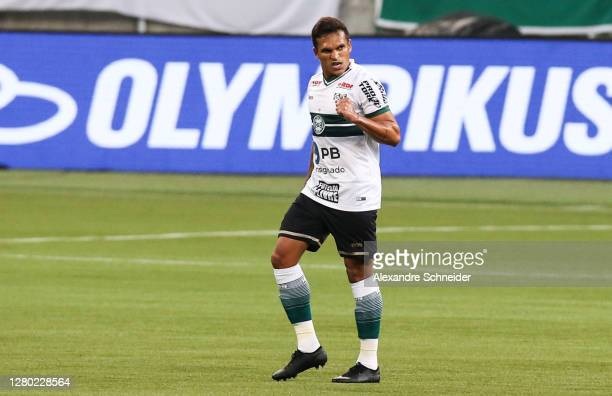 Robson of Coritiba celebrates after scoring the first goal of his team during the match against Palmeiras as part of Brasileirao Series A 2020 at...