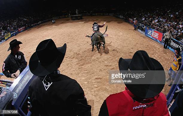 Robson Palermo of Brazil rides County Line during the Professional Bull Riders World Finals on October 29 2006 at Mandalay Bay Casino and Hotel in...