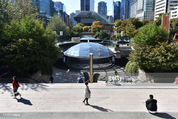 Robson Square co-designed by landscape architect Cornelia Hahn Oberlander, is viewed on September 30, 2019 in Vancouver, BC Canada. - Robson Square...